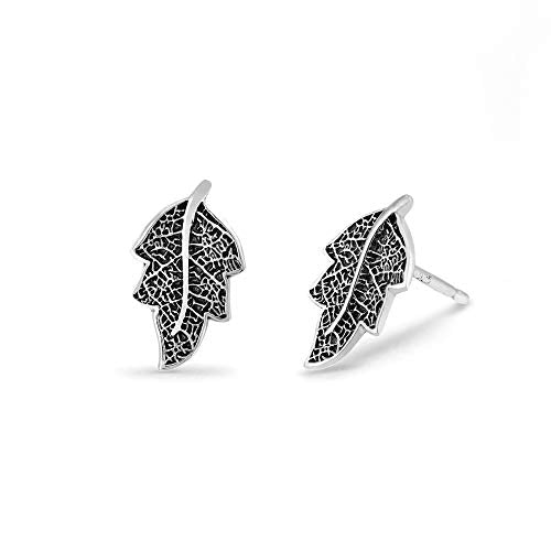 Oxidized Leaf Stud Earrings - Boma Life Sterling Silver