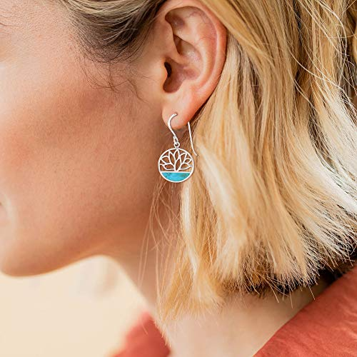 Turquoise Lotus Flower Earrings - Boma Life Sterling Silver