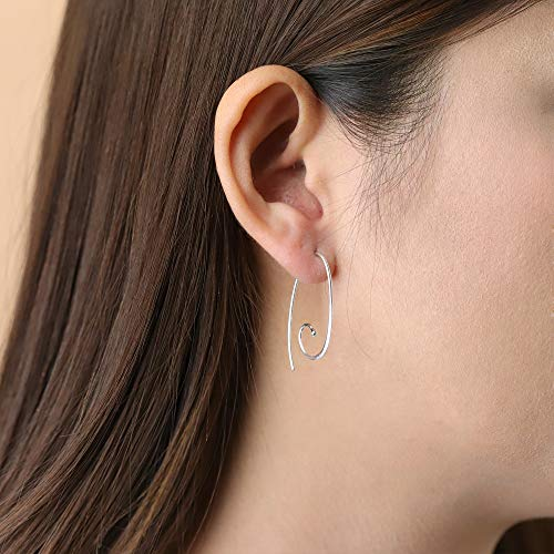 Oval Spiral Pull Through Hoop Earrings - Boma Life Sterling Silver