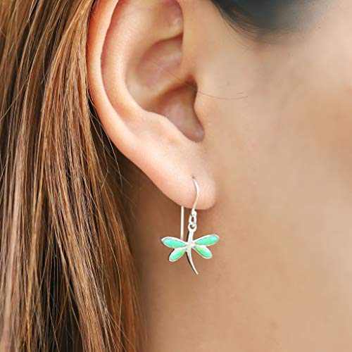 Green Turquoise Dragonfly Earrings - Boma Life Sterling Silver