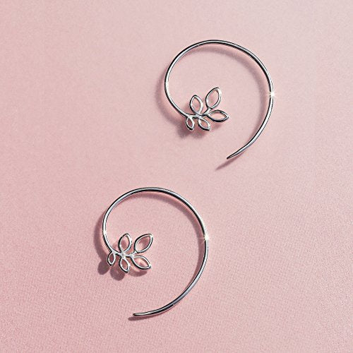 Leaf Pull Through Hoop Earrings - Boma Life Sterling Silver