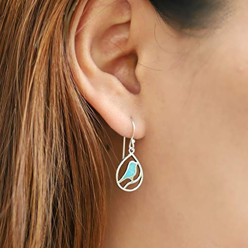 Turquoise Bird Earrings - Boma Life Sterling Silver