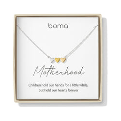 Boma Jewelry Sentiments Collection Motherhood Sterling Silver Three Hearts with 14kt Rose and Yellow Gold Vermeil Necklace, 18 Inches