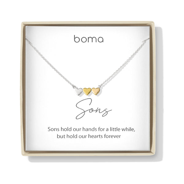 Boma Jewelry Sentiments Collection Sons Sterling Silver Three Hearts with 14kt Rose and Yellow Gold Vermeil Necklace, 18 Inches
