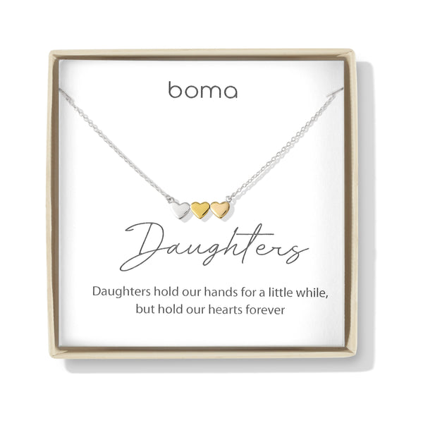 Boma Jewelry Sentiments Collection Daughters Sterling Silver Three Hearts with 14kt Rose and Yellow Gold Vermeil Necklace, 18 Inches