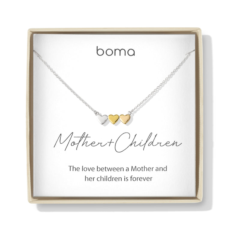 Boma Jewelry Sentiments Collection Mother & Children Sterling Silver Three Hearts with 14kt Rose and Yellow Gold Vermeil Necklace, 18 Inches