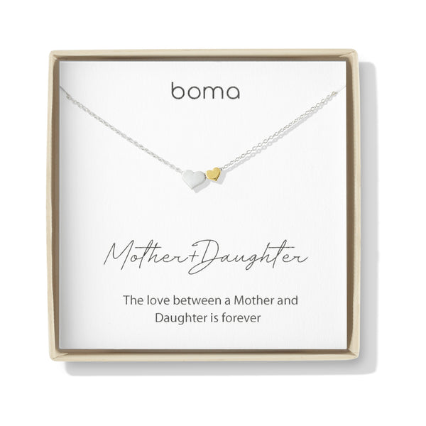 Boma Jewelry Sentiments Collection Mother & Daughter Sterling Silver Two Hearts with 14kt Gold Vermiel Necklace, 18 Inches