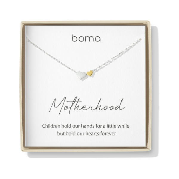 Boma Jewelry Sentiments Collection Motherhood Sterling Silver Two Hearts with 14kt Gold Vermiel Necklace, 18 Inches