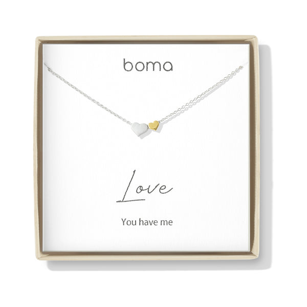 Boma Jewelry Sentiments Collection Love Sterling Silver Two Hearts with 14kt Gold Vermiel Necklace, 18 Inches