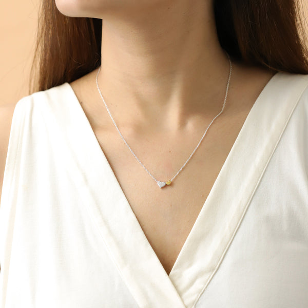 Boma Jewelry Sentiments Collection Daughters Sterling Silver Two Hearts with 14kt Gold Vermiel Necklace, 18 Inches