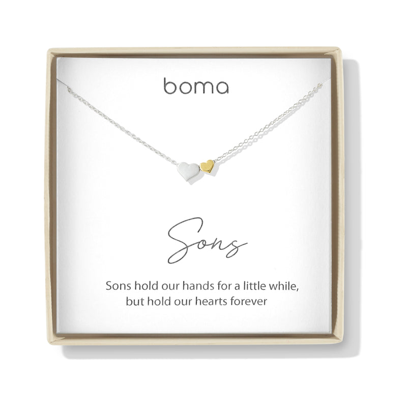 Boma Jewelry Sentiments Collection Sons Sterling Silver Two Hearts with 14kt Gold Vermiel Necklace, 18 Inches
