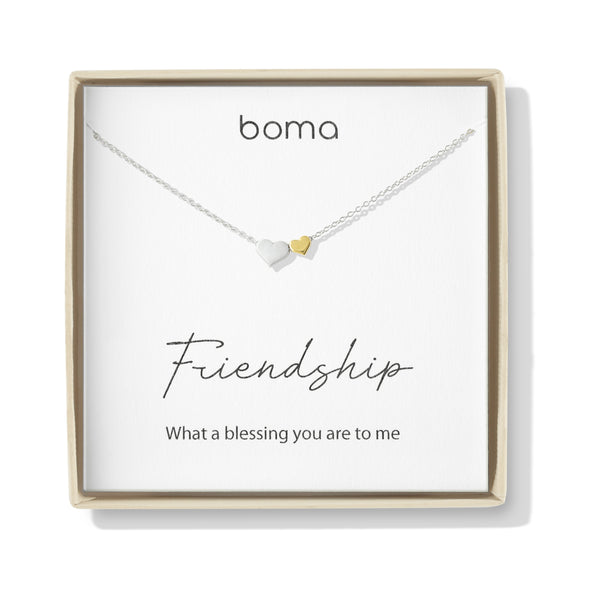 Boma Jewelry Sentiments Collection Friendship Sterling Silver Two Hearts with 14kt Gold Vermiel Necklace, 18 Inches