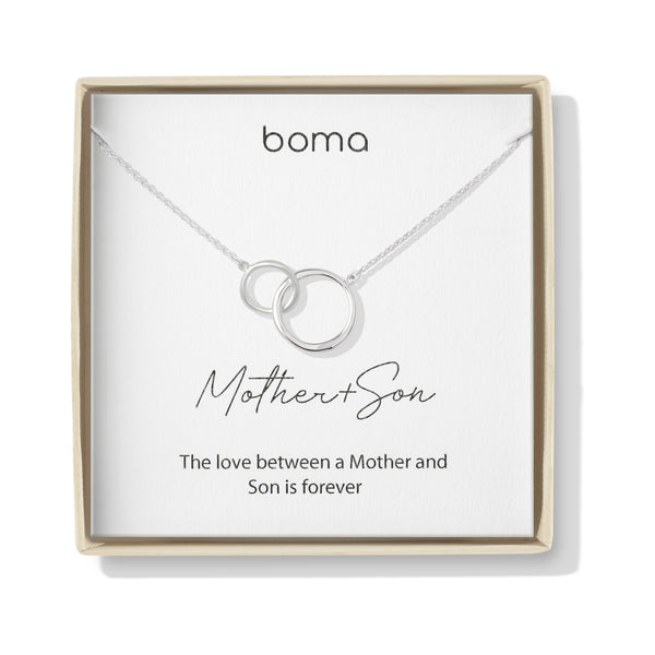 Boma Jewelry Sentiments Collection Mother & Son Sterling Silver Two Interlocking Circles Necklace, 18 Inches