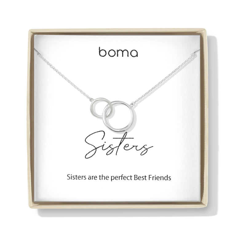 Boma Jewelry Sentiments Collection Sisters Sterling Silver Two Interlocking Circles Necklace, 18 Inches