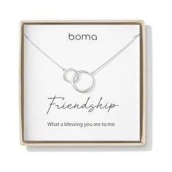 Boma Jewelry Sentiments Collection Friendship Sterling Silver Two Interlocking Circles Necklace, 18 Inches