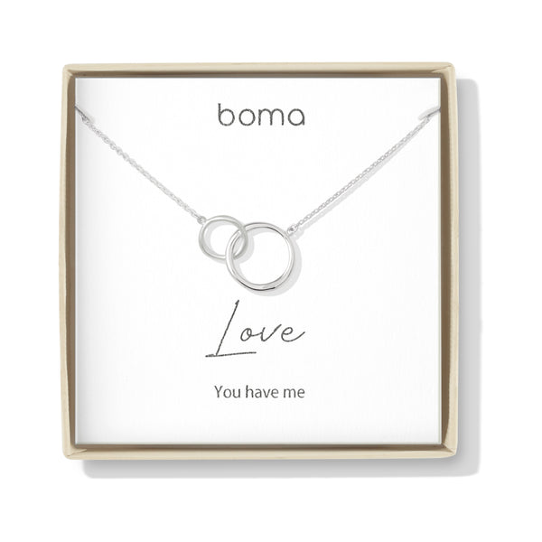 Boma Jewelry Sentiments Collection Love Sterling Silver Two Interlocking Circles Necklace, 18 Inches