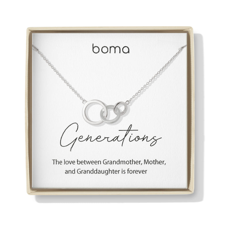 Boma Jewelry Sentiments Collection Generations Sterling Silver Interlocking Three Circle Necklace, 20 Inches