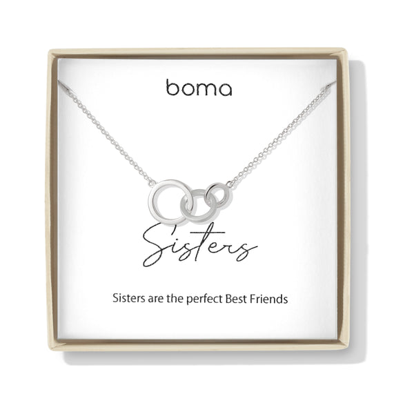 Boma Jewelry Sentiments Collection Sisters Sterling Silver Interlocking Three Circle Necklace, 20 Inches