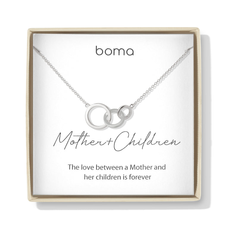 Boma Jewelry Sentiments Collection Mother & Children Sterling Silver Interlocking Three Circle Necklace, 20 Inches