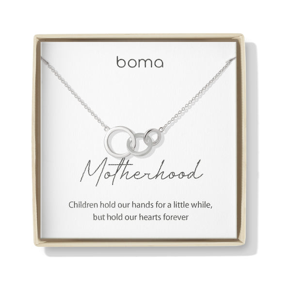 Boma Jewelry Sentiments Collection Motherhood Sterling Silver Interlocking Three Circle Necklace, 20 Inches