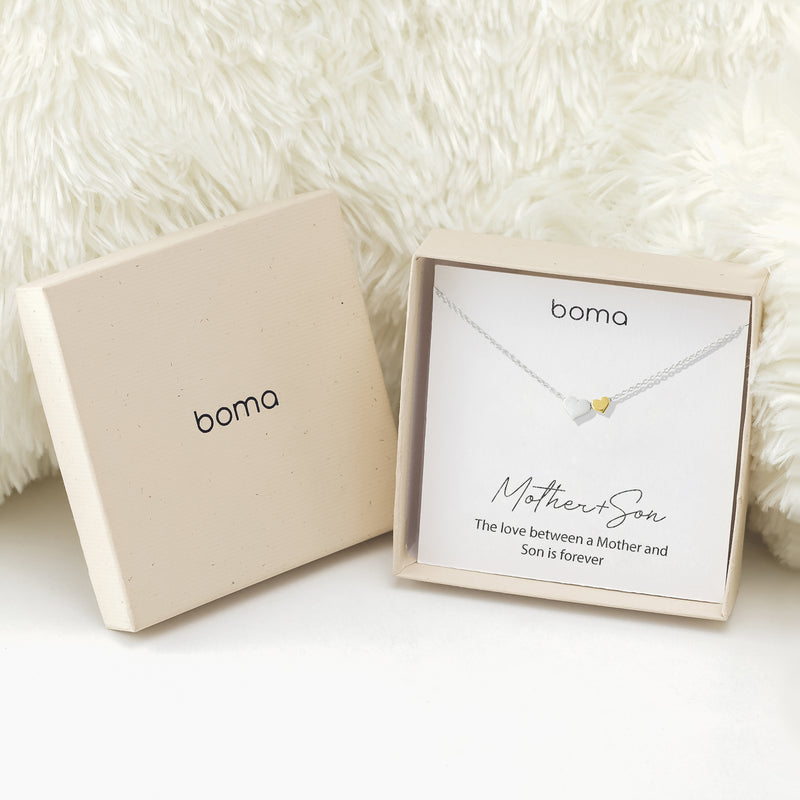 Boma Jewelry Sentiments Collection Mother & Son Sterling Silver Two Hearts with 14kt Gold Vermiel Necklace, 18 Inches