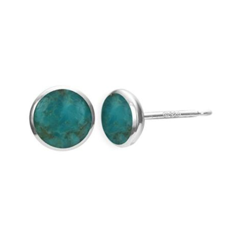 Essential Turquoise Circle Stud Earrings - Boma Life Sterling Silver