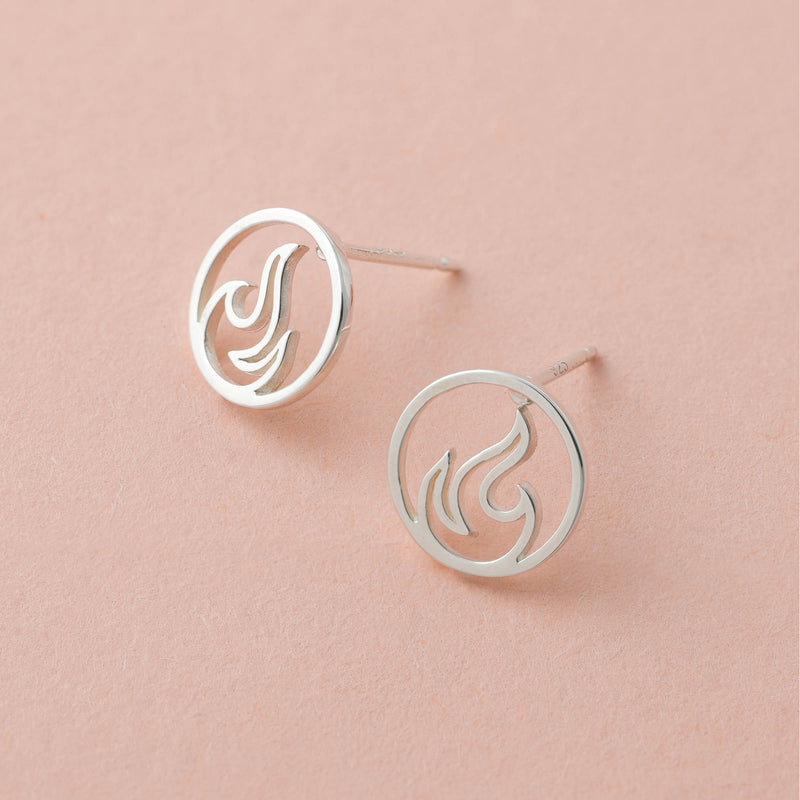 Boma Jewelry Sterling Silver Fire Element Circle Stud Earrings