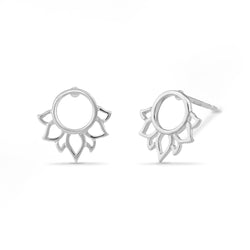 Boma Jewelry Sterling Silver Lotus Flower Circle Stud Earrings