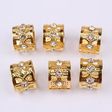 50Pcs Rhinestone gold hair cuffs - Virgin Hair
