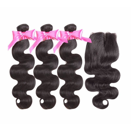 Brazilian Body Wave Bundles With Closure 3 Bundles - Virgin Hair