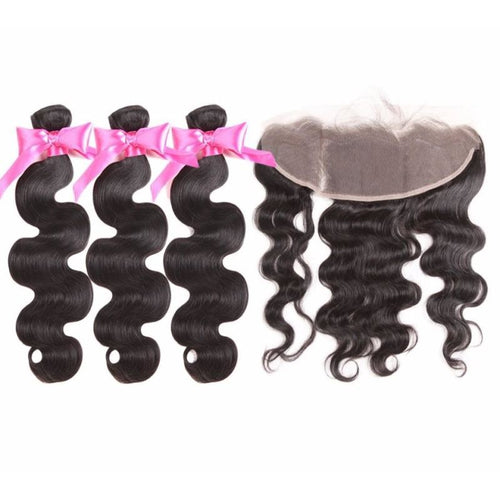 Brazilian Body Wave Bundles With Frontal 3 Bundles - Virgin Hair