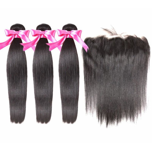 Brazilian Straight Hair With Frontal 3 Bundles - Virgin Hair