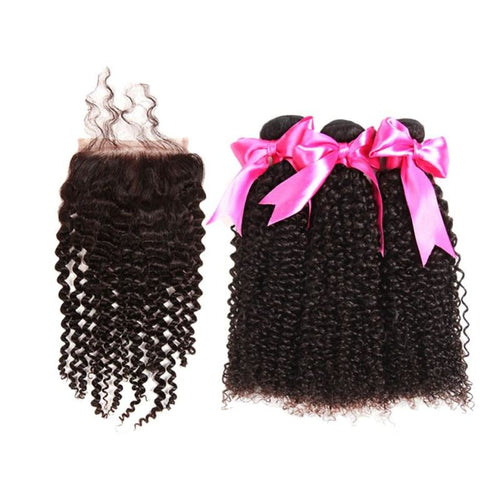 Kinky Curly Bundles With Closure Mongolian Hair - Virgin Hair