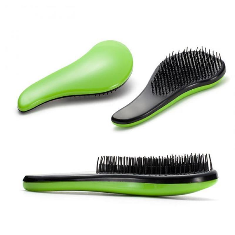 Professional Paddle Hairbrush - Green - Virgin Hair