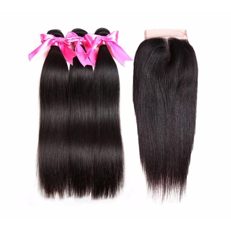Straight Hair Bundles With Closure 100% Remy Human Hair - Virgin Hair