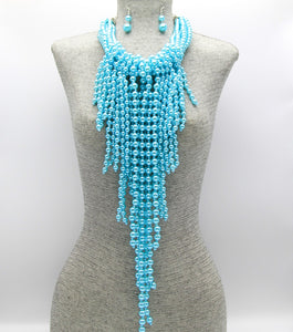 HANNA FRINGE NECKLACE - AQUA