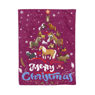 Horse lover christmas gift - horse christmas tree - Fleece Blanket