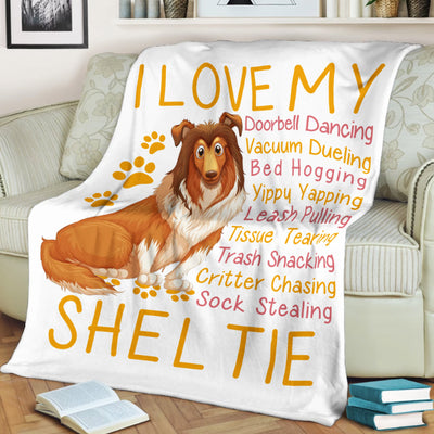 I Love My Sheltie Doorbell Dancing Bed Hogging Dog Lover - Premium Fleece Blanket