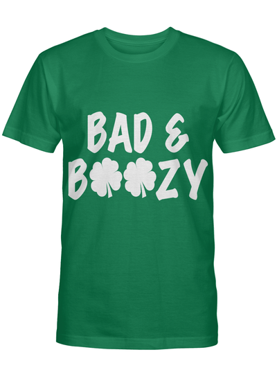 Bad & Boozy Shamrock Funny Irish - St. Patrick's Day Green Drinking T Shirt