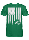 National Flower Of Ireland Shamrock A Three Leafed Plant Similar To A Clover American Flag T Shirt