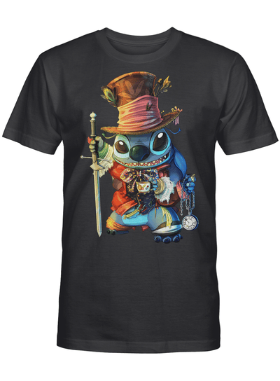 The Mad Hatter Stitch In Wonderland Gift For Stitch Lover Animated Fan T Shirt