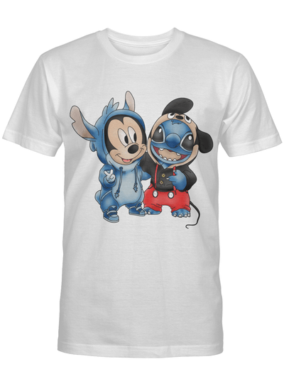 Mickey And Stitch Disguse Each Other Gift For Stitch Lover T Shirt
