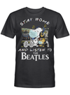 Beatles Fans Gift - Stay Home And Listen To Music Snoopy Album T shirt