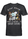 Barbra Streisand Fans Gift - Stay Home And Listen To Music Snoopy Album T shirt
