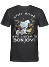 Bon Jovi Fans Gift - Stay Home And Listen To Music Snoopy Album T shirt