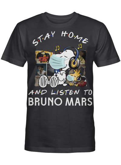 Bruno Mars Fans Gift - Stay Home And Listen To Music Snoopy Album T shirt