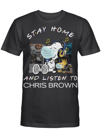 Chris Brown Fans Gift - Stay Home And Listen To Music Snoopy Album T shirt