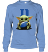 Baby Yoda Hug Duke Blue Devils The Mandalorian Long Sleeve T-Shirt