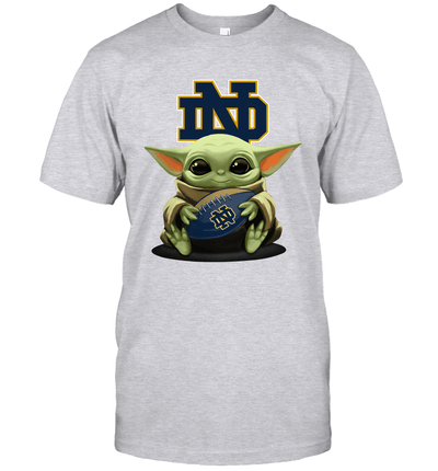Baby Yoda Hug Notre Dame Fighting Irish The Mandalorian T-Shirt