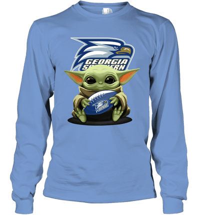 Baby Yoda Hug Georgia Southern Eagles The Mandalorian Long Sleeve T-Shirt